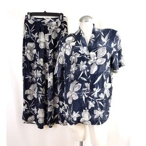 August Silk Size L M Silk Skirt Top Set Blue Gray